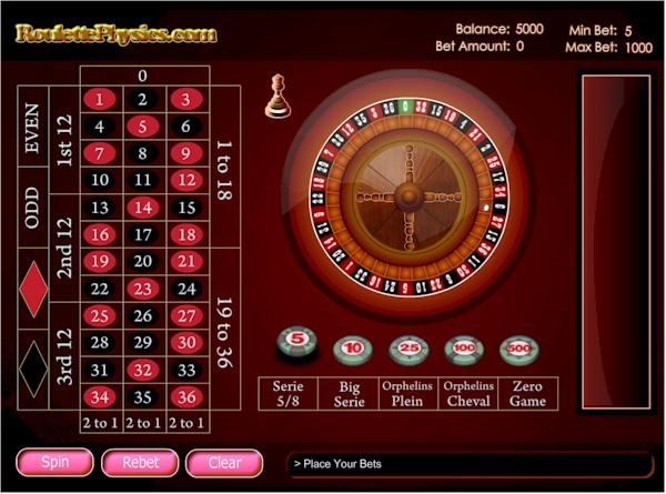 Permainan roulette RNG gratis oleh roulettephysics.com.