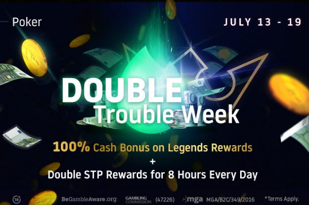 Double Trouble Week di Run It Once Poker!  GANDAKAN Splash the Pot + Legends Rewards